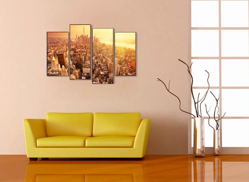 Модульная картина город фото в интерьере