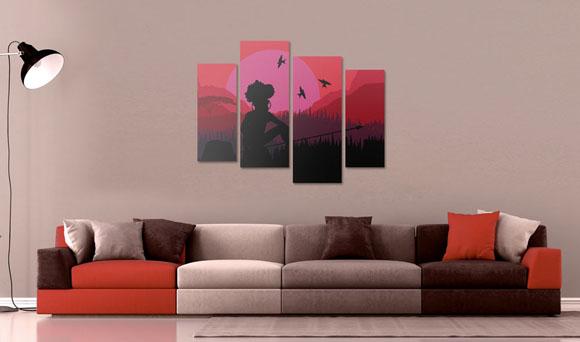 интерьер с картиной в минималистичном стиле