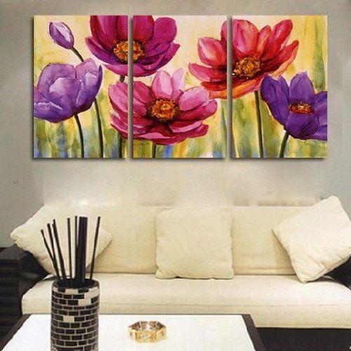 Модульная картина с нарисованными цветами